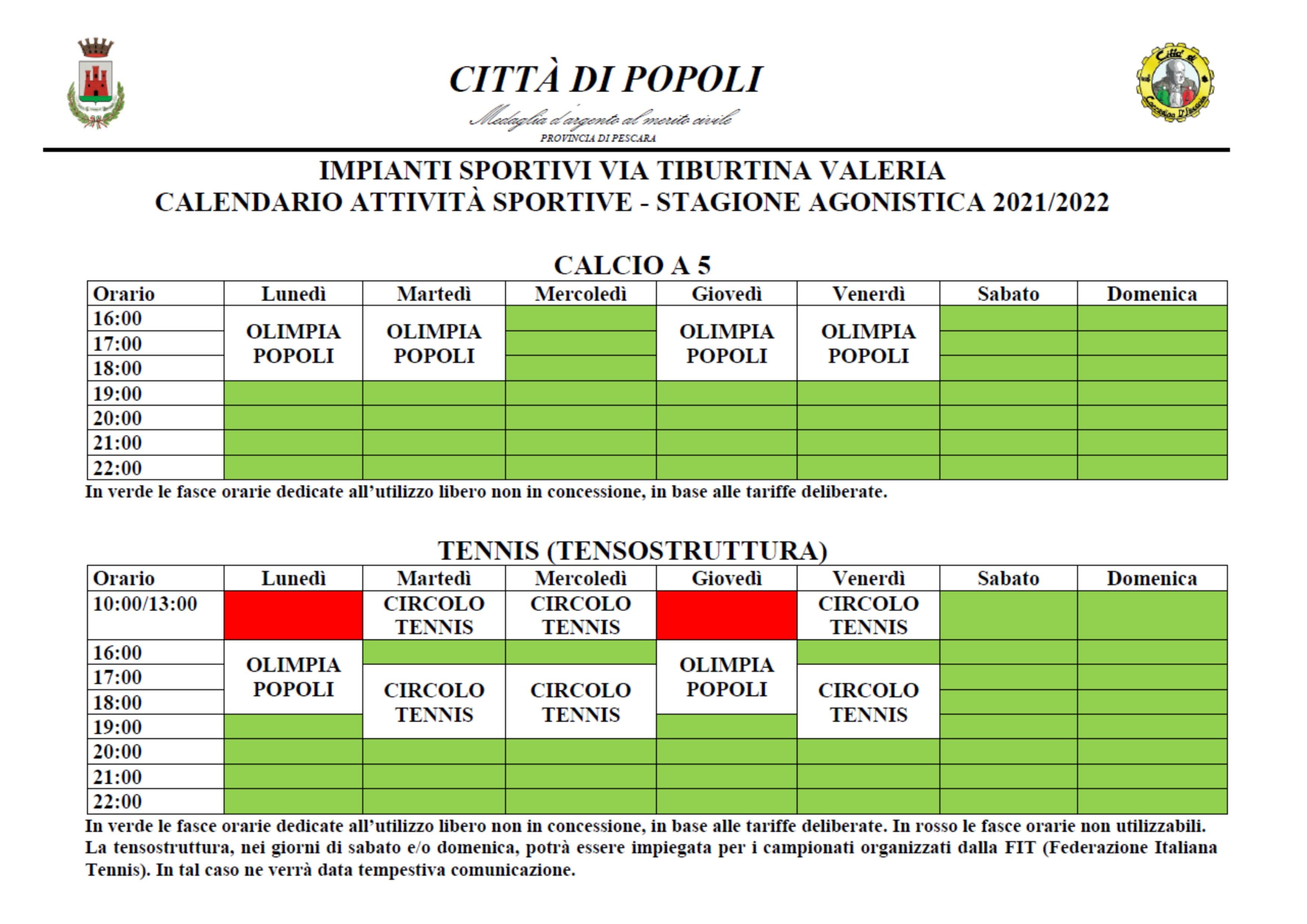 calendario circolo tennis e scuola calcio